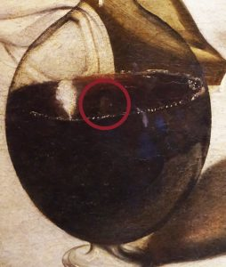 Close-up detail of an evident self potrait in Bacchus