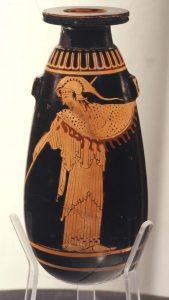 MOO Museo dell'Olivo e dell'Olio - Fondazione Lun garotti, Torgiano (PG) - Pittore della Fonder ia, Alàbastron, Atene 490-480 a.C._recto