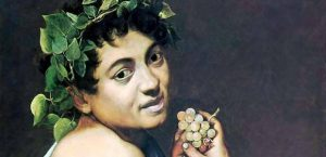 Close-up view of Young Sick Bacchus's gaze