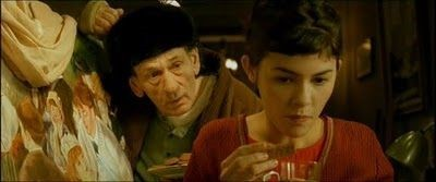 A Scene from the film Amélie featuring Renoir's painting