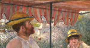 """Up close detail of """"Luncheon of the Boating Party"""" showing the combination of landscape and portraiture painting"""