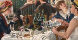 Close up detail of the table layout in the center of the composition