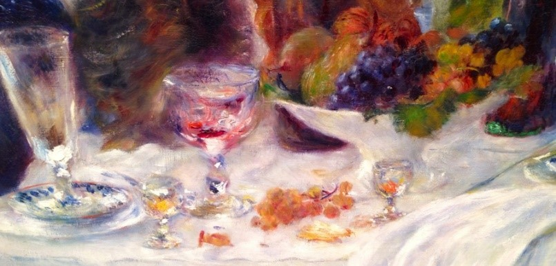 """Up close detail of the glasses on the table in """"Luncheon of the Boating Party"""""""