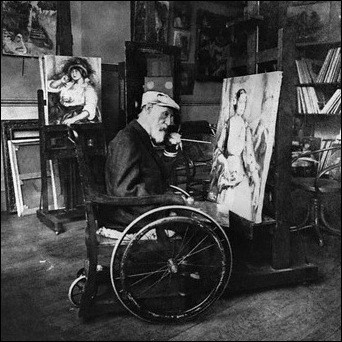 Renoir painting in his studio in the early 1900's